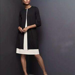 J JILL Wearever A-Line Swing Dress Black Cream NWT